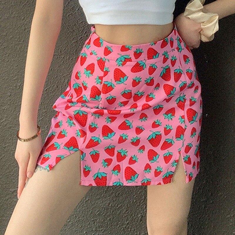 Woman Mini Skirt Elegant Boho High Waist Bandage 2020 Summer юбка женская For Women Pink Strawberry Print Girls Short Skirts