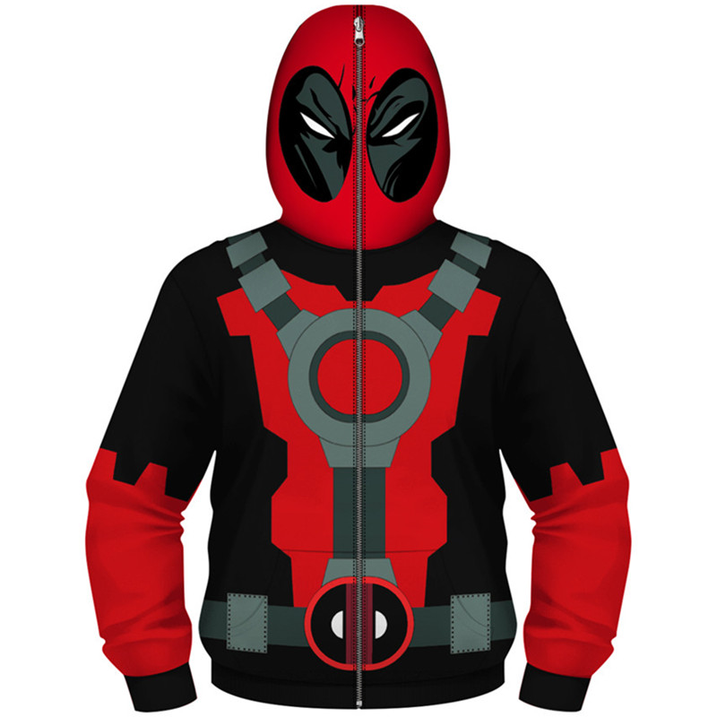 Children Cartoon Anime Deadpool Cosplay Coat Superhero Hooded Zipper Design Boy/Girl Hip Hop Hoodies Kids 3D Sweatshirts Clothes image