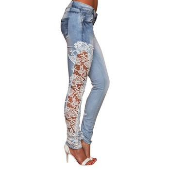 2021 New Fashional Ladylike Women's Lace Joint Embroideried Hollow Out Pockets Mid-Waisted Slimming Pencil Jeans Long Trousers 2