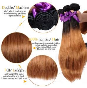 Image 4 - Mel loira pacotes com fechamento peruano cabelo reto ombre 3 pacotes com fecho 1b 30 cabelo humano tecer pinshair remy cabelo