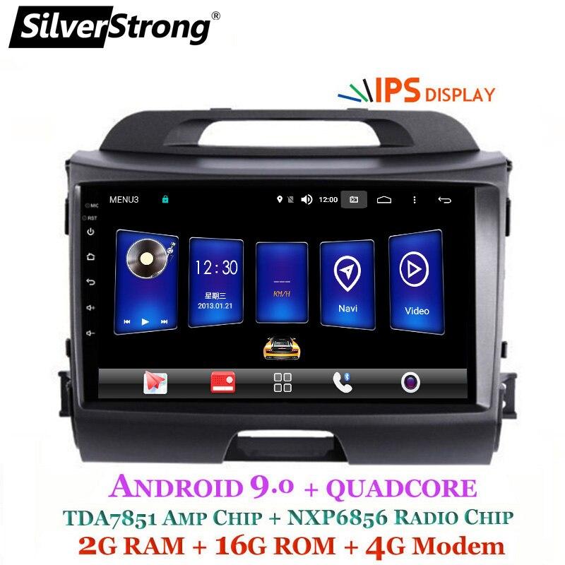 SilverStrong Android9.0 IPS 4G 9 polegada Sportage3 2009-15 android9.0 IPS Do GPS Do Carro Para KIA Sportage R canbus para o amplificador
