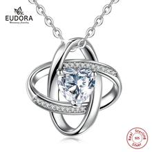 цена EUDORA Romantic 925 Sterling Silver Heart Pave Clear Crystal CZ Necklaces Pendants for Women Fashion Necklace Jewelry Gift D179 онлайн в 2017 году