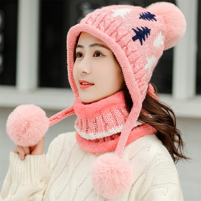 Winter Hat Scarf 2 Pieces Set Pompom Print Cap Scarves Thickened Beanie Scarf Sets