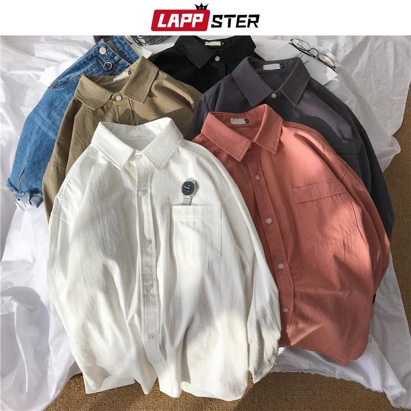 LAPPSTER Mens Korean Solid Shirts Long Sleeve 2020 Casual Mens Harajuku Vintage Shirts Women White Button Shirt Regular Fit