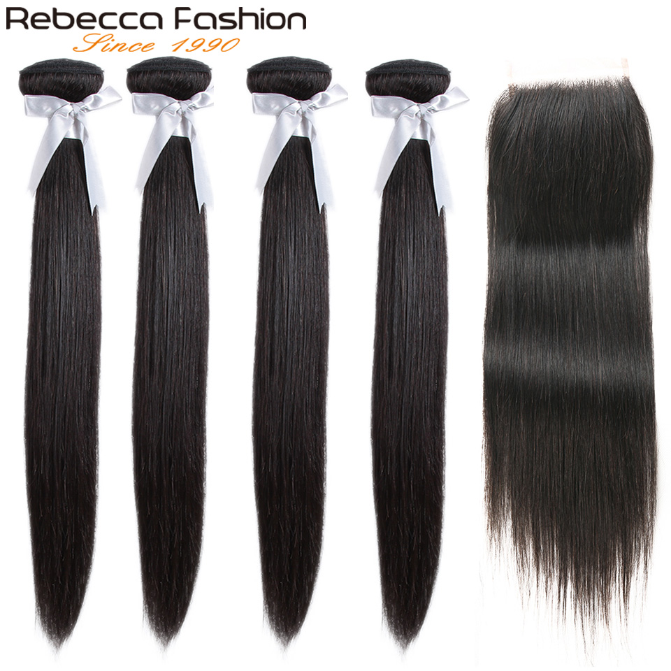 Rebecca Straight Hair 4 Bundles With Closure Non Remy Brazilian Straight Hair Human Hair Weave Bundles With 4x4 Lace Closure