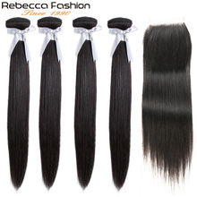 Rebecca Straight Hair 4 Bundles With Closure Non Remy Brazilian Human Weave 4x4 Lace
