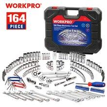 WORKPRO 164 adet aracı Set lokma anahtar seti el aletleri araba tamir için Set alet aletleri soket seti cırcır anahtarı somun anahtarları