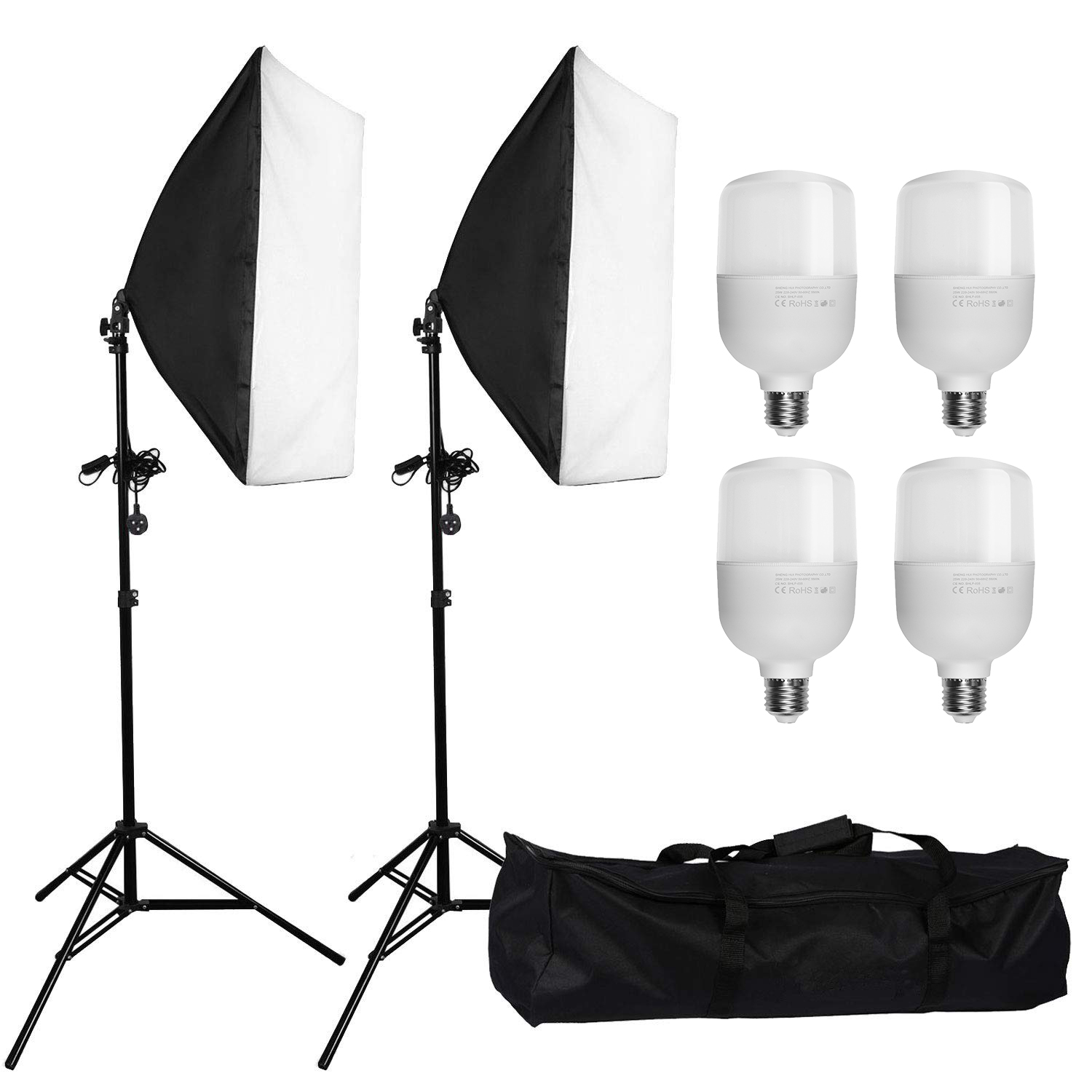 zuochen photo studio softbox lights continuous lighting kit with 2pcs soft box 4 led blub 2 tripod stand for facebook live