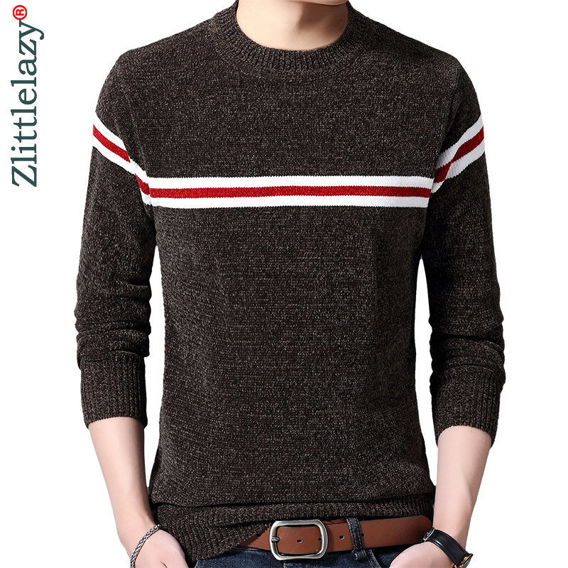2019 Striped Thick Warm Winter Striped Knitted Pull Sweater Men Wear Jersey Dress Pullover Knit Mens Sweaters Male Fashions 9302