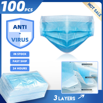 100Pcs Disposable Masks Mouth-muffle Mask 3-Ply Anti-virus Anti-Dust Nonwoven Elastic Earloop Mouth Face Masks