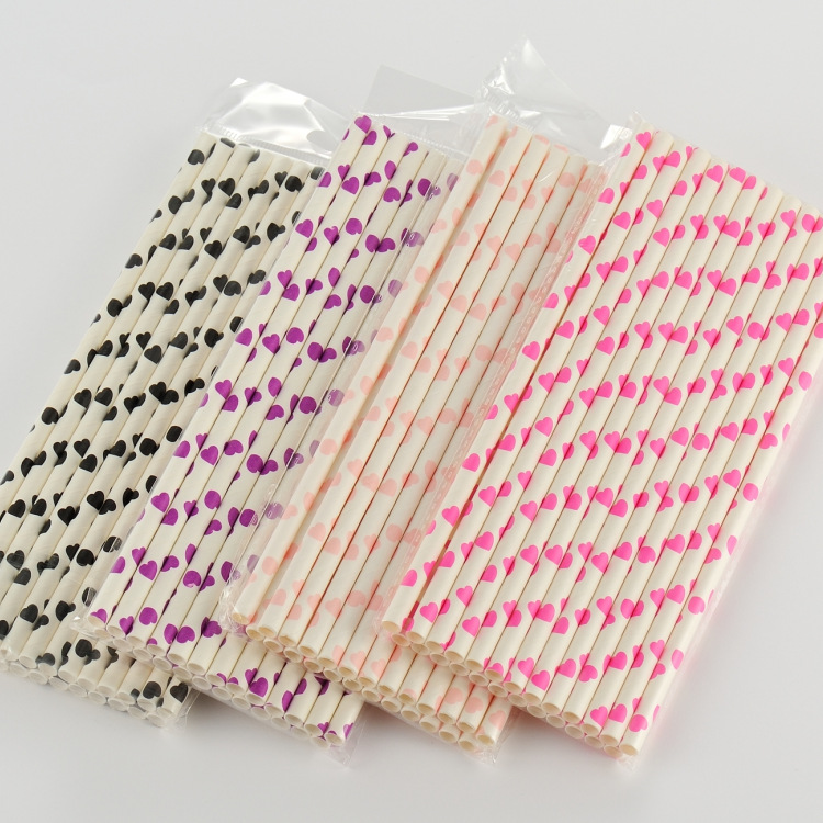 Cross Border Manufacturers Direct Selling EU Standard Heart Series Structure Recycled Paper Straw Disposable Biodegradable Paper
