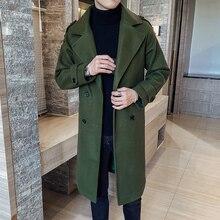 Модная зимняя куртка Для мужчин классические модные тренчи черный плащ Тренч карамель армейские; зеленого цвета; для мужчин длинный плащ приталенное пальто Для мужчин пальто