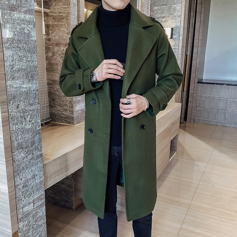 Fashion Winter Jacket Men Classic Fashion Trench Coats Black Caramel Army Green Men Long Trench Slim Fit Overcoat Men Coats