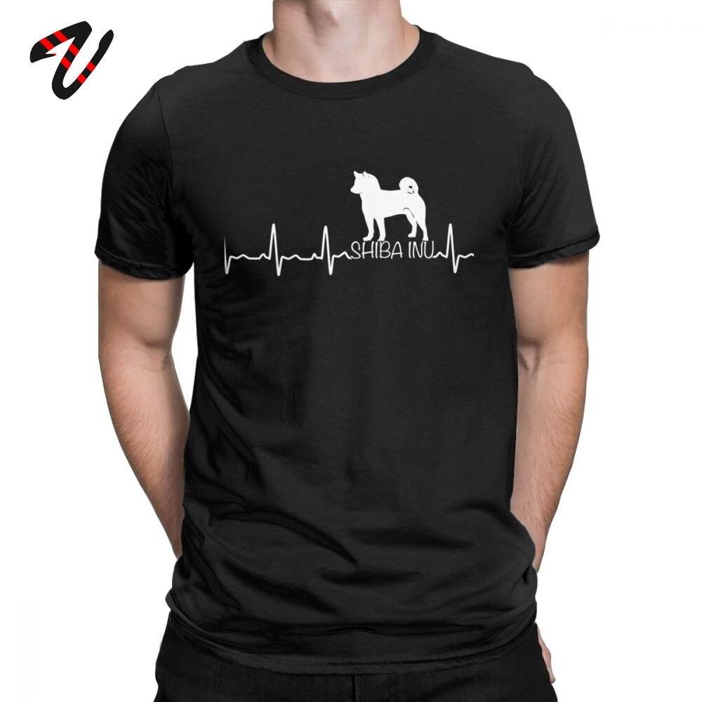 Men T Shirt Heartbeat Shiba Inu Tshirt Kawaii T Shirt For Dog Lover Tees Thanksgiving Day Gift Clothes Cotton Plus Size T-Shirt