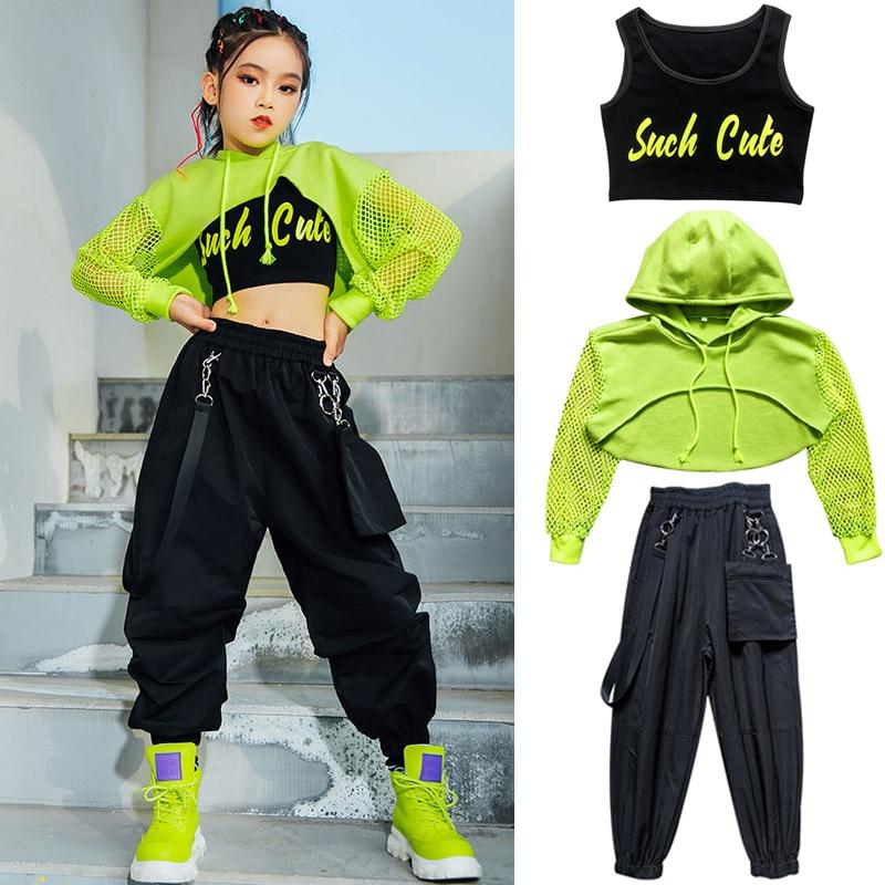 Jazz Costume Hip Hop Girls Clothing Green Tops Net Sleeve Black Hip Hop Pants For Kids Performance Modern Dancing Clothes BL5311