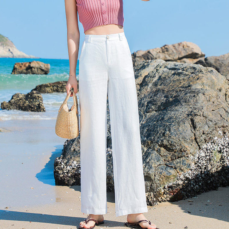 Casual Cotton Linen Wide Leg Beach Pants Bohemian Loose Pants Female  Vintage High Waist Solid Color Straight Trousers Women