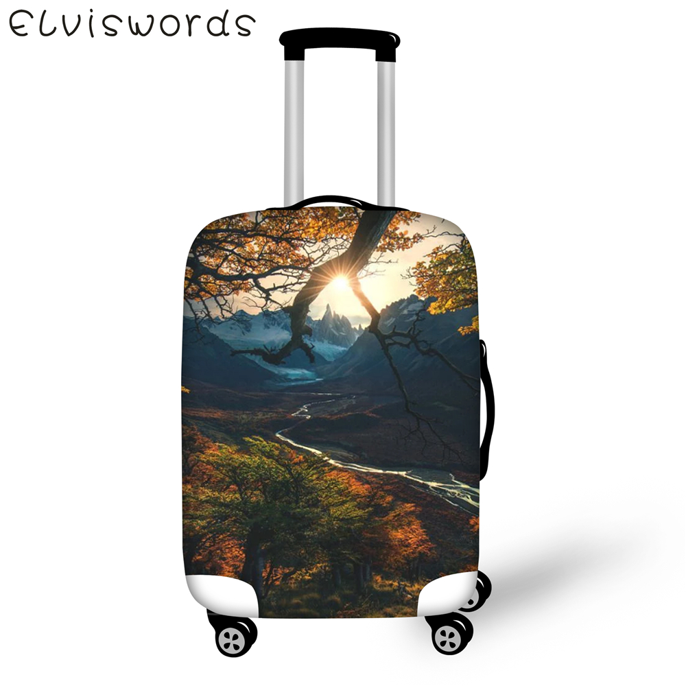 ELVIESWORDS Luggage Cover Sunrise/Sunset Landscape Design  Luggage Elastic Dust Cover Size 18-32 inch Big Luggage tag