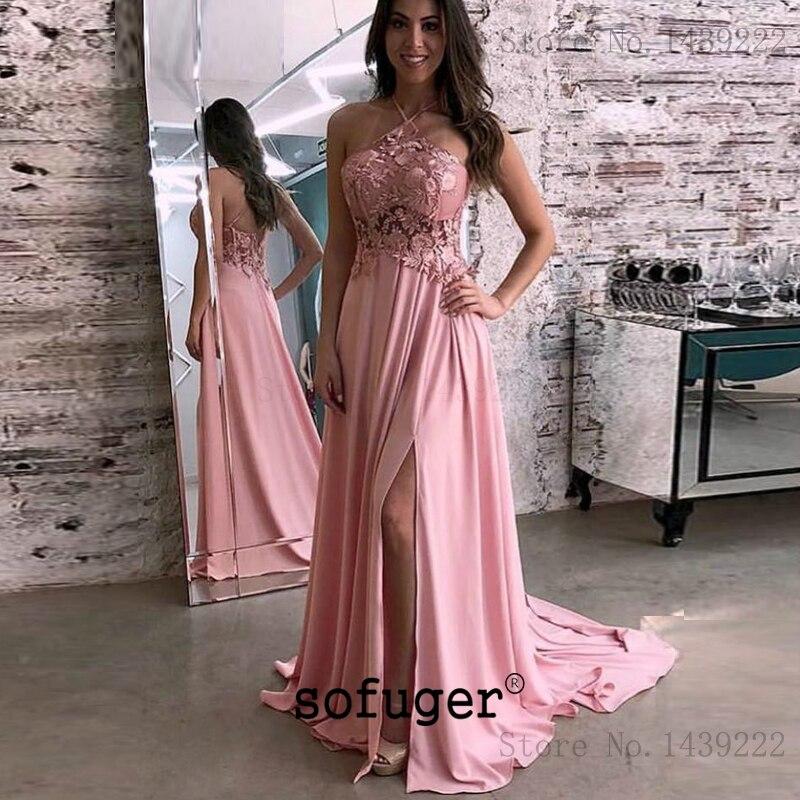 Rose licou Aline soirée robes De bal en mousseline De soie dentelle Appliques Occasion spéciale fête formelle diplômé Vestidos De Gala Fiesta
