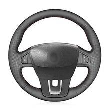יד תפור שחור PU דמוי עור רכב הגה כיסוי עבור רנו לגונה 3 Latitude רנו סמסונג SM5 SM7 2009 2018