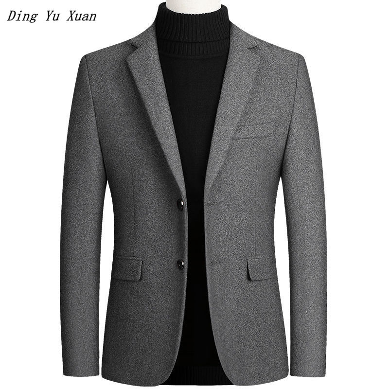 2020 Mens Autumn Wool Formal Blazer Winter Jacket Men Slim Fit Blazer Masculino Business Casual Suit Jacket Man Red Black Blue