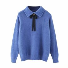 ZA women autumn winter warm tops knitted Bow tie decorative sweater pullover casual pull slim women's sweater woman clothes(China)