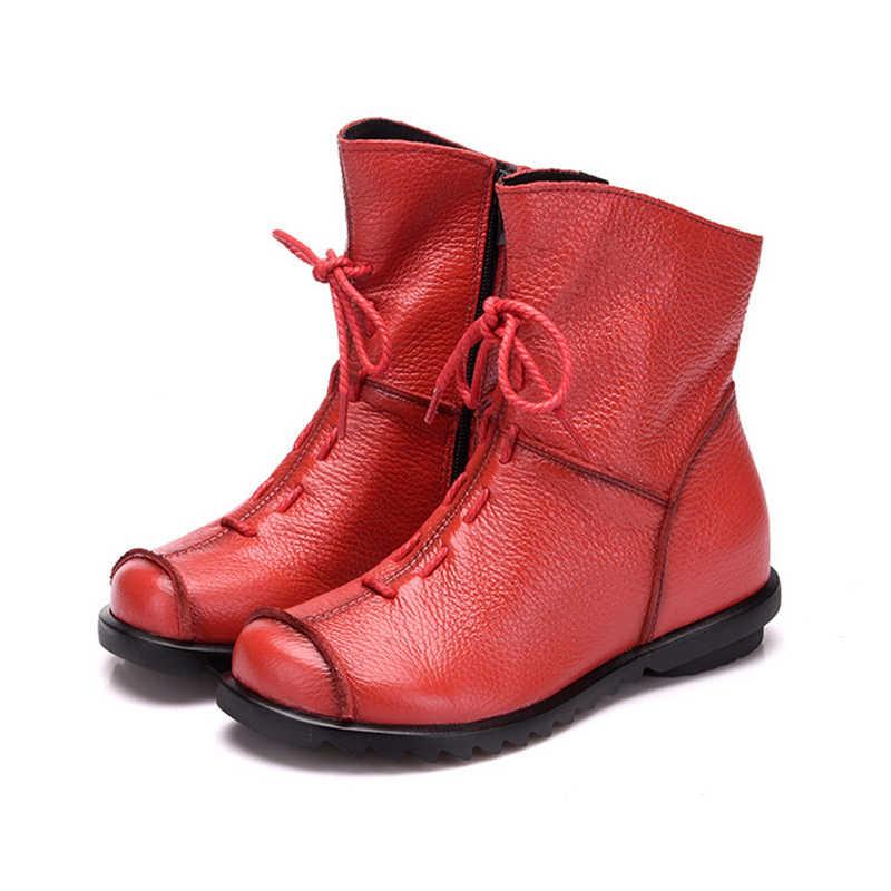 Botines de mujer Vintage zapatos de cuero genuino plataforma femenina de talla grande botas planas de invierno cálido calzado de mujer C145