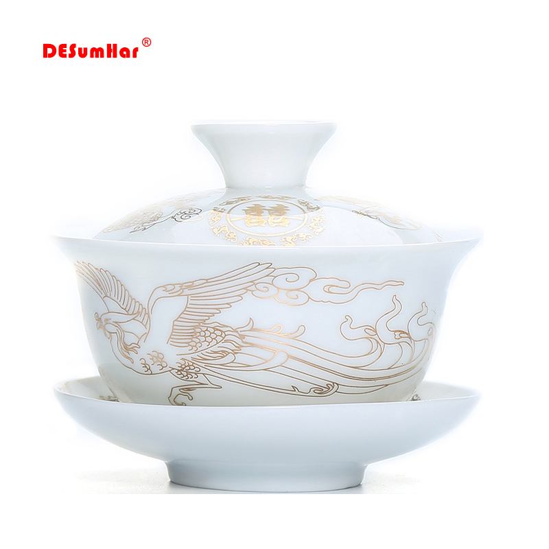 Chinese Traditional Gaiwan Tea Set,Exquisite Flower And Bird Pattern Teacup,porcelain Teapot Tea Set For Travel Easy Kettle