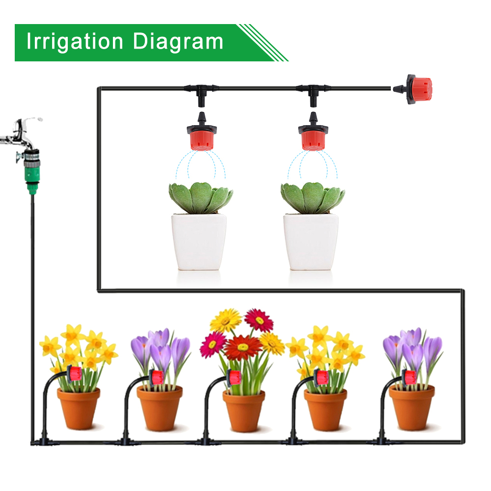 25M DIY Drip Irrigation System Automatic Watering Garden Hose Micro Drip Watering Kits with Adjustable Drippers
