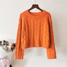2019 womens sweet fresh sweater Korean thick round neck loose  sweaters winter cashmere