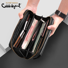 Cobbler Legend Black Genuine Leather Men Business Wallet Male Coin Purse Phone Clutch Bag Zipper Big carteras 2019