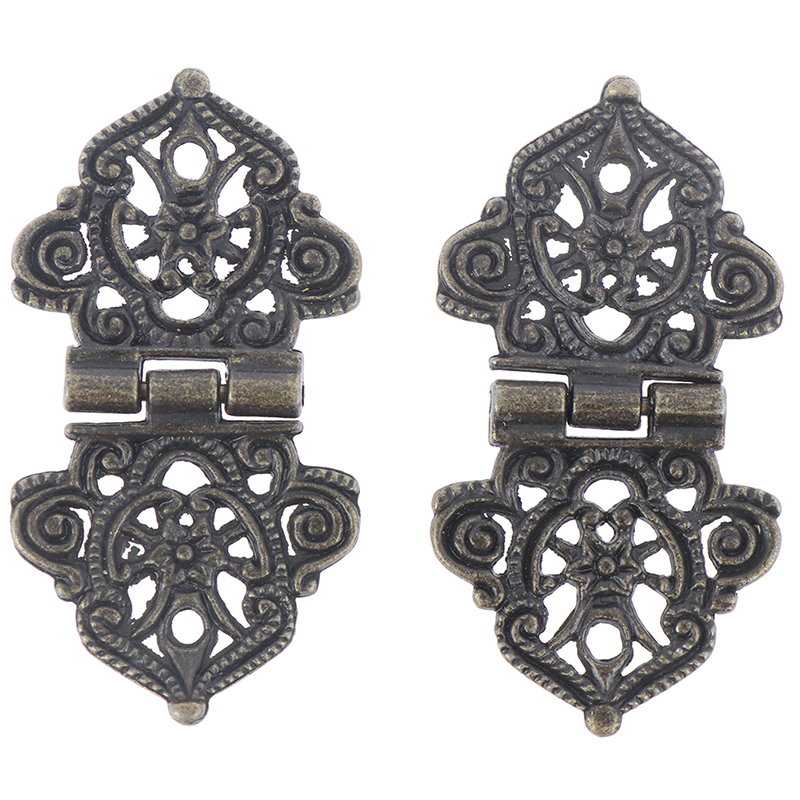2pcs 24*54mm Chinese Furniture Hardware Vintage Alloy Hollow Flower Hinge Metal Hinges Cabinet Door Butt Hinges For DIY Box