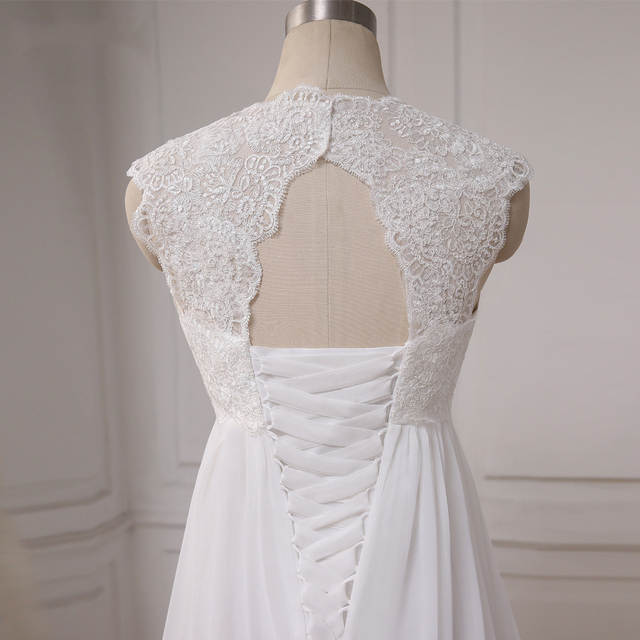 Cheap Beach Wedding Dresses Vestido De Noiva Cap Sleeve Sweetheart Empire Chiffon Bridal dress Lace Pregnant Weding Dress 5