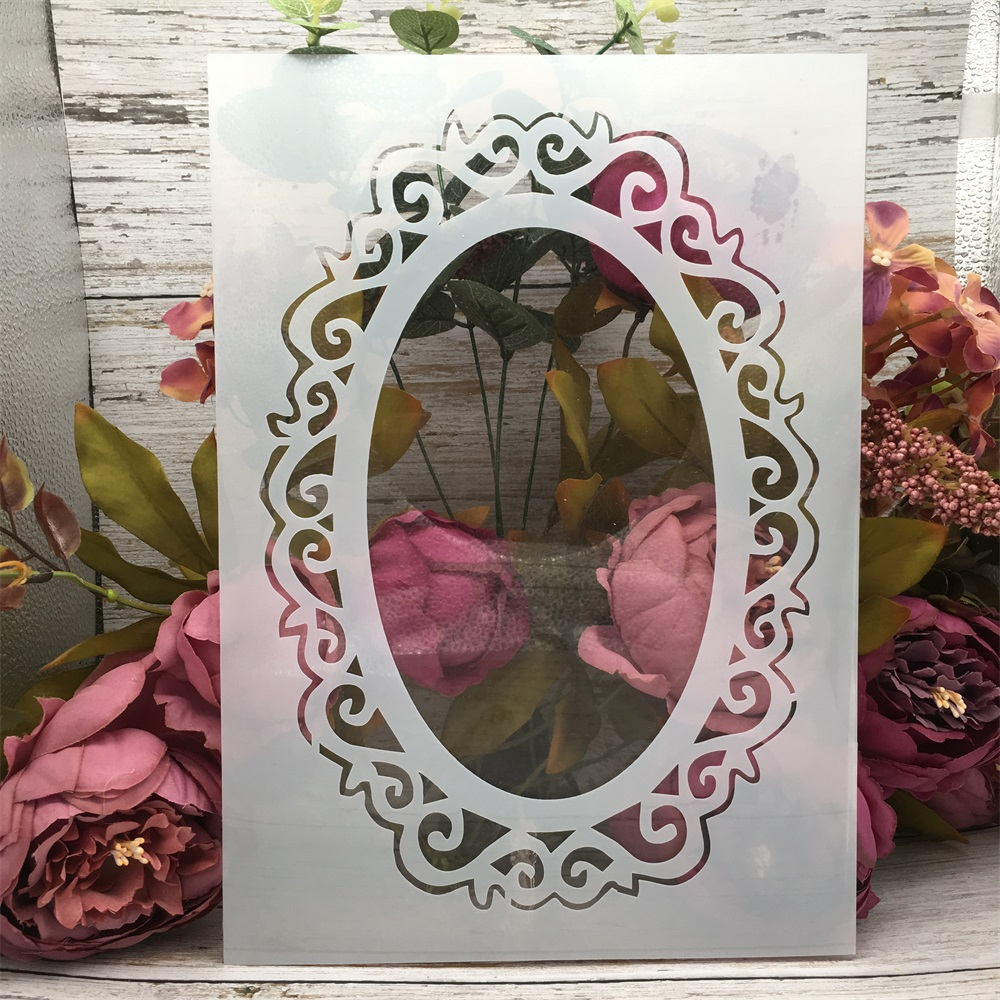 29*21cm A4 Mirror Oval DIY Layering Stencils Wall Painting Scrapbook Coloring Embossing Album Decorative Template