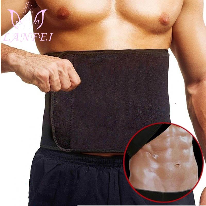 LANFEI Hot Neoprene Waist Shaper Waist Trainer for Men Tummy Control Belt Sauna Sweat Slimming Shapewear Fat Burner Wrap Black