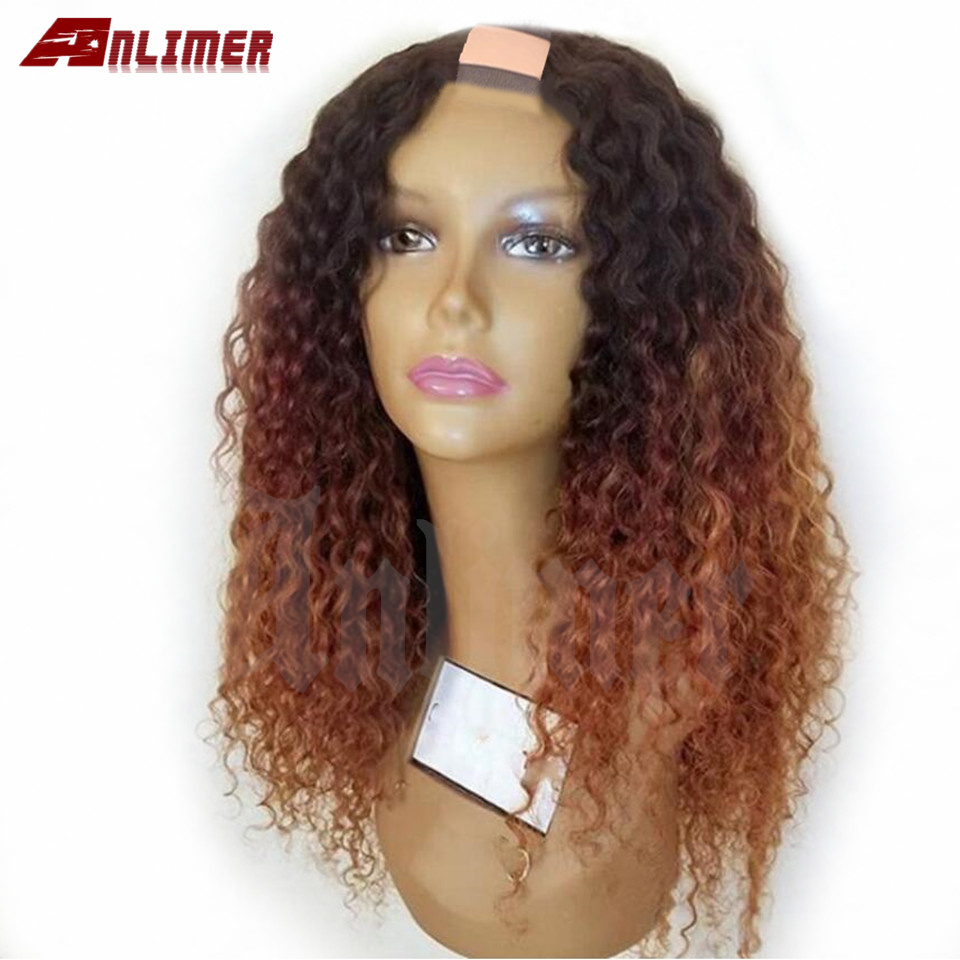 High 250% Density Glueless Curly Ombre Blonde U Part Human Hair Wigs For Black Women Brazilian 2*4'' U Part Hair Wig Anlimer