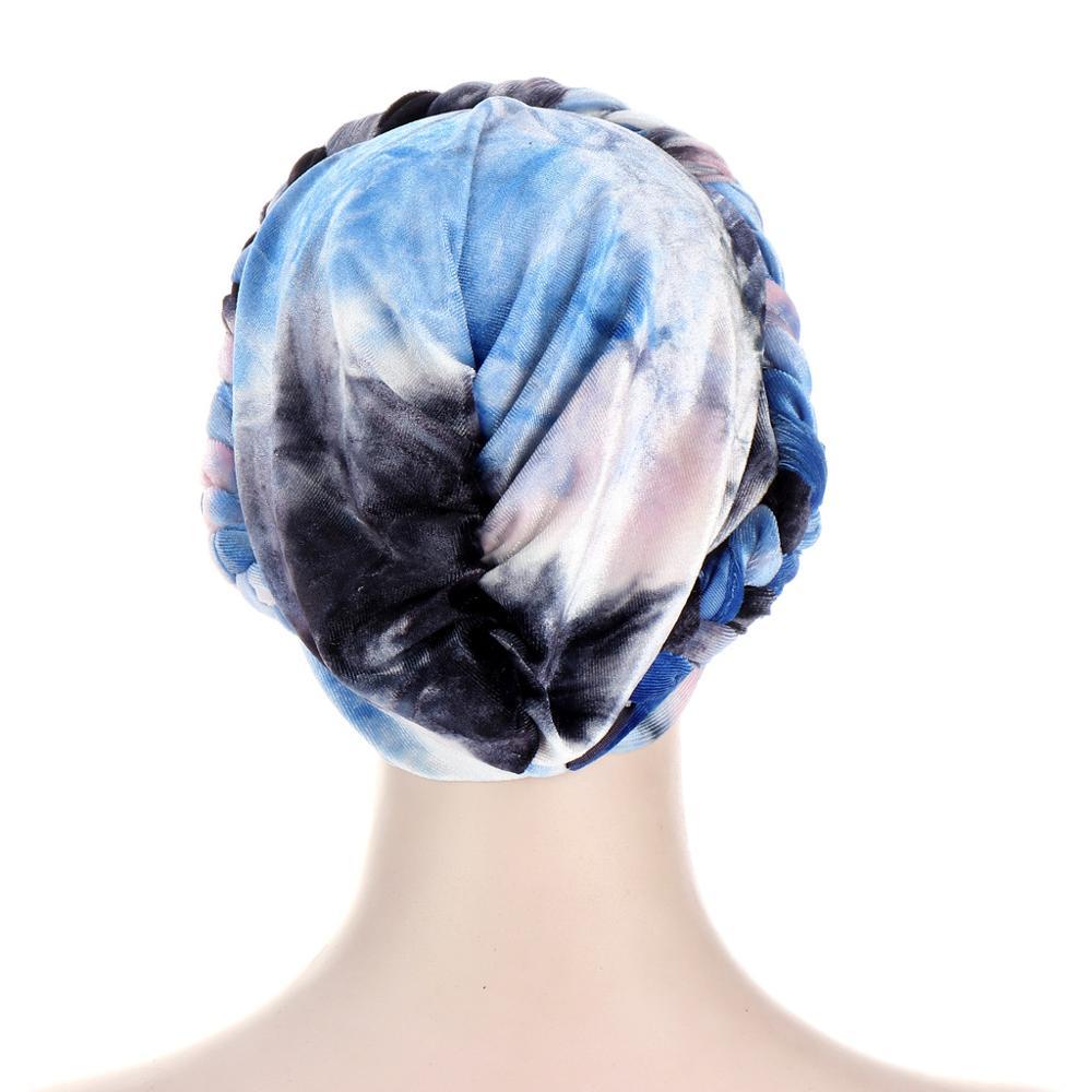 Купить коса тюрбан шапки для женщин предварительно связанные бархатные