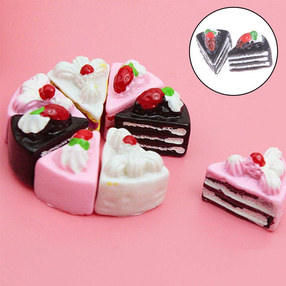 10 pçs bonito kawaii plana volta diy em miniatura artificial falso bolo de comida resina cabochão decorativo artesanato jogar boneca casa brinquedo 4 estilos
