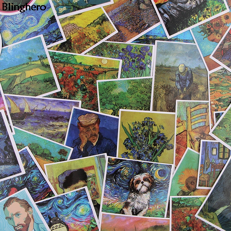 Blinghero Van Gogh Stickers 36Pcs/set Painting Stickers Stationery Stickers Laptop Luggage Stickers Decals For Colletion BH0303