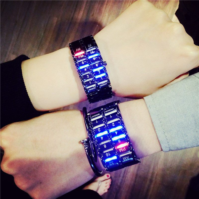 Japanese Versions Of Luminous Couples Creative Bracelet Watches Minimalist Led Display Full Of Stainless Steel Digital Watch