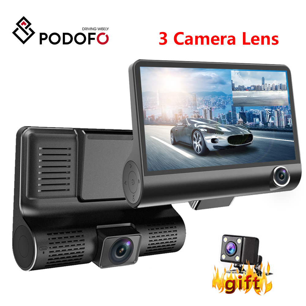 Podofo Dash Cam 4,0 дюймов HD Автомобильный видеорегистратор Камера с двойным объективом с камерой заднего вида Видео Авто цифровые видеорегистрато...