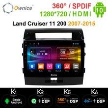 Ownice Android 10.0 samochodowy odtwarzacz DVD Navi odtwarzacz GPS dla Toyota Land Cruiser 11 200 2007 2015 k3 k5 k6 DSP 4G SPDIF Multimedia radiowe