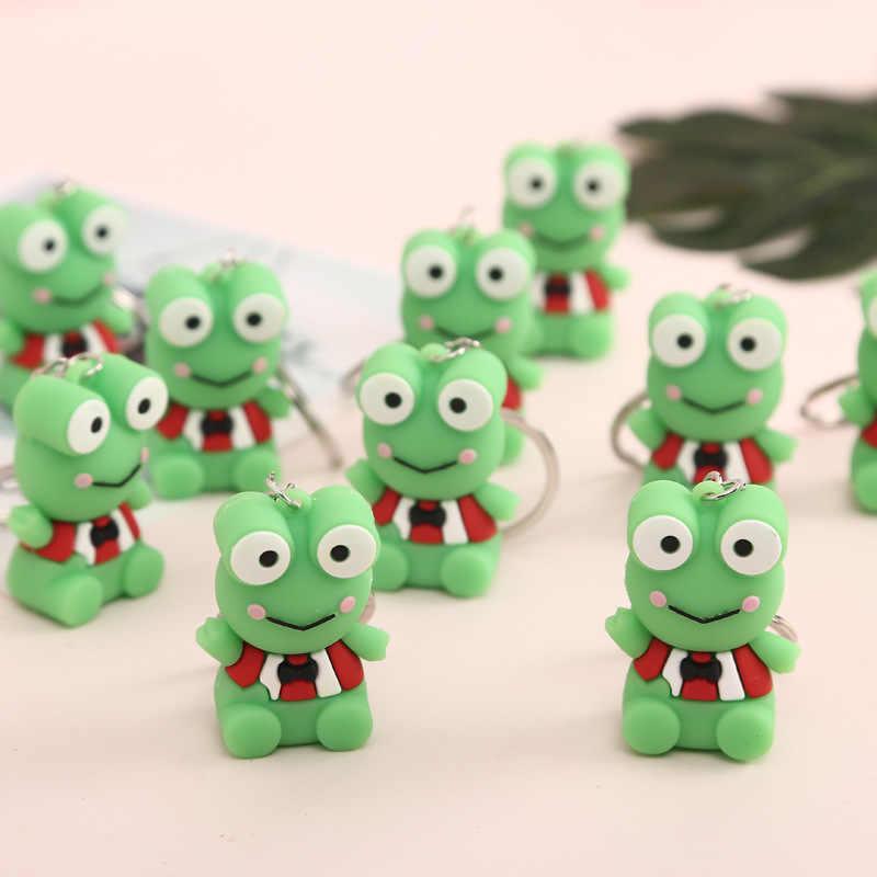 2019 nueva moda Linda rana verde de dibujos animados llavero colgante forma animal llavero de silicona mochila accesorios regalo de vacaciones