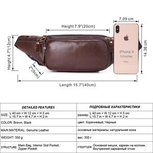 Image 2 - Flanker Genuine cow leather men waist bag casual small fanny pack travel waist pack cell phone bag crossbody bags man chest bag