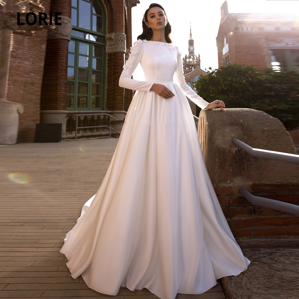 LORIE Satin Wedding Dresses Lace Appliques Bride Gown Long Sleeve Muslim Wedding Gown Country Court Train Plus Size Party Dress