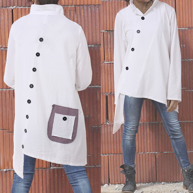 Celmia Women's Shirts Blouses 2020 Vintage Cotton Asymmetrical Tops Long Sleeve Buttons Pockets Casual Loose Blusas Feminina 5XL