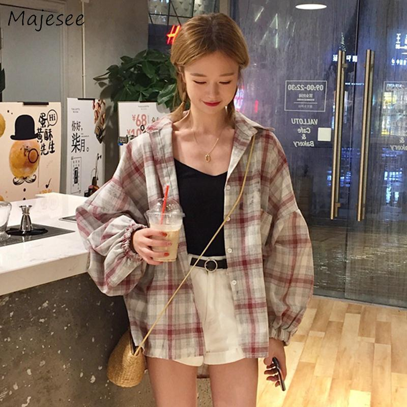Womens Shirts Korean Fashion Clothing Plaid Vintage Black Long Sleeve Top Womens Tops And Blouses Casual Females Kawaii Blouse