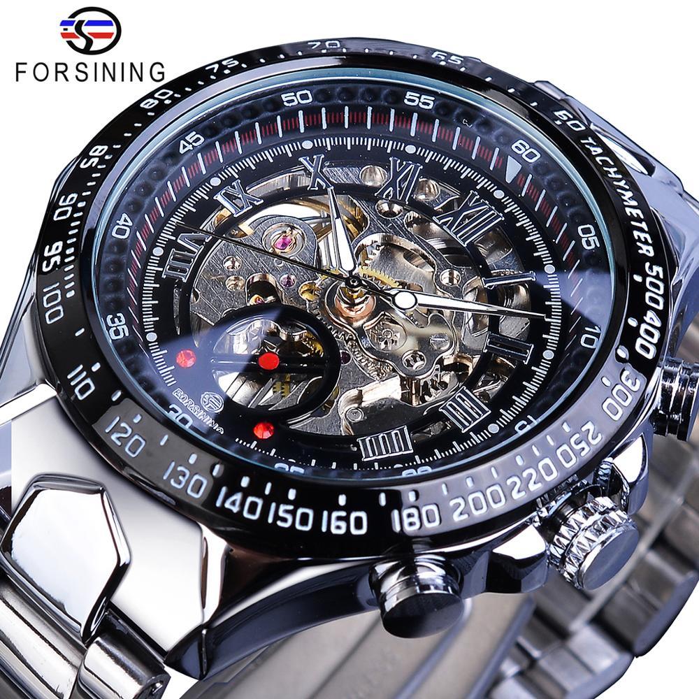 Forsining Transparent Case Open Work Silver Stainless Steel Mechanical Skeleton Sport Wrist Watch Men Top Brand Innrech Market.com