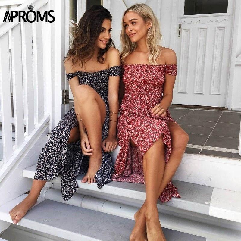 Aproms Sweet Pleated Tube Tunic Maxi Dress Red Floral Off Shoulder High Split Beach Dress Summer 2021 Boho Cool Girls Sundresses