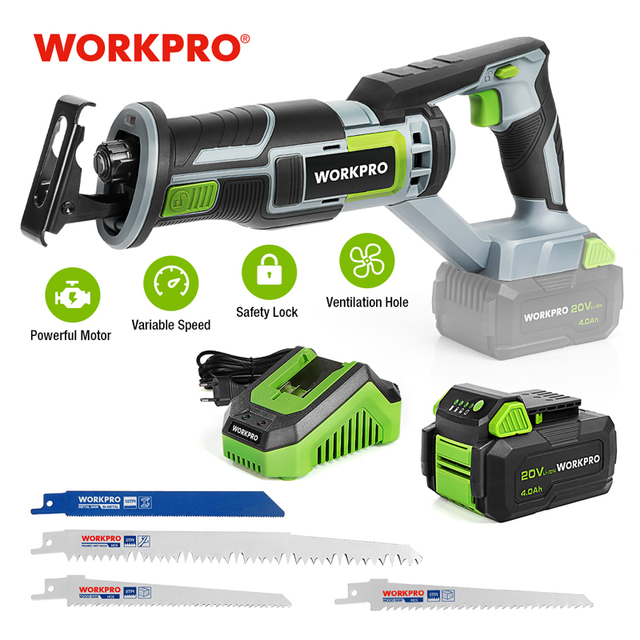 WORKPRO 20V Cordless Reciprocating Saw 1-inch Stroke Length For Wood & Metal Cutting With 4 Saw Blades Tool Kit 1