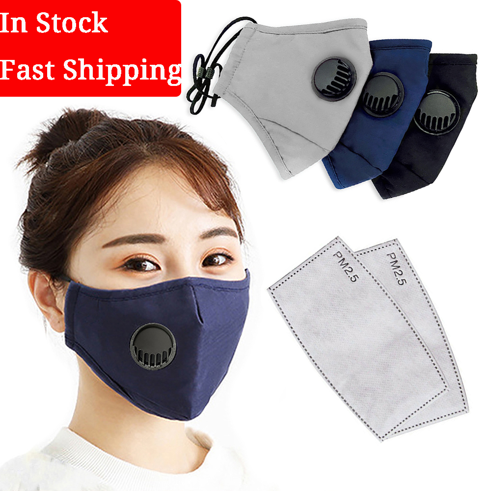 Protective Face Mask Breathing Valve With 2 Replaceable Filters Washable Cotton Activated Carbon Filter Anti Dust Mouth Masks